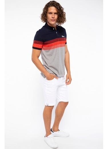 DeFacto Çizgili Slim Fit Polo T-shirt Kırmızı